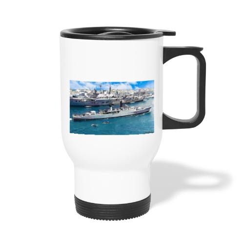 leopard and eagle oil1 - Thermal mug with handle