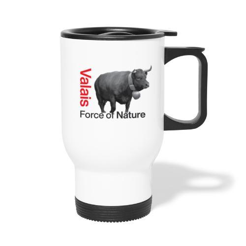 Naturgewalt - Kuh von Hérens Wallis - Thermobecher mit Tragegriff