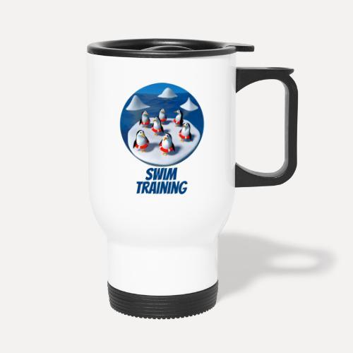 Pinguine beim Schwimmunterricht - Thermal mug with handle