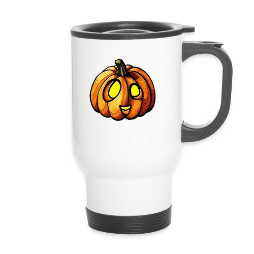 Pumpkin Halloween watercolor scribblesirii - Thermobecher mit Tragegriff