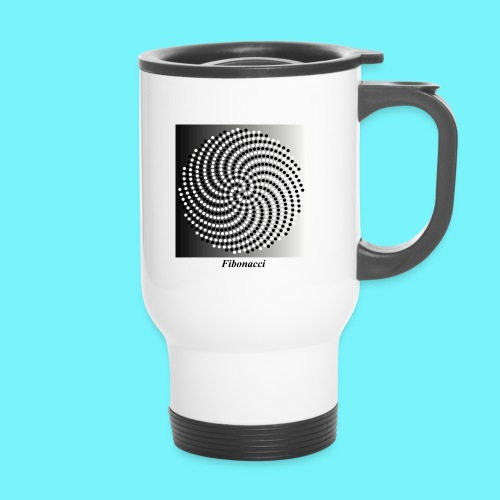 Fibonacci spiral pattern in black and white - Thermal mug with handle
