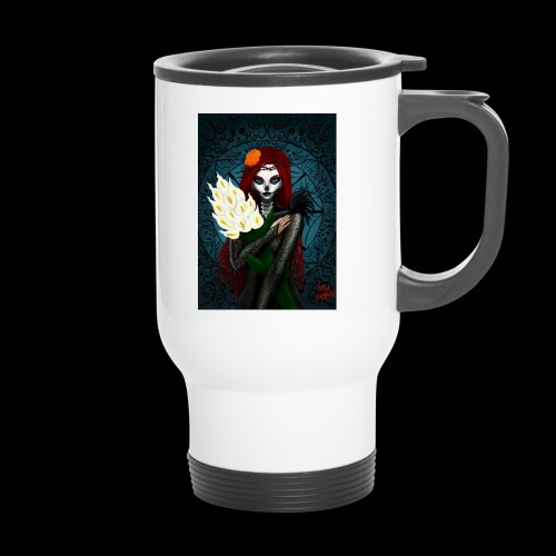 Death and lillies - Thermal mug with handle