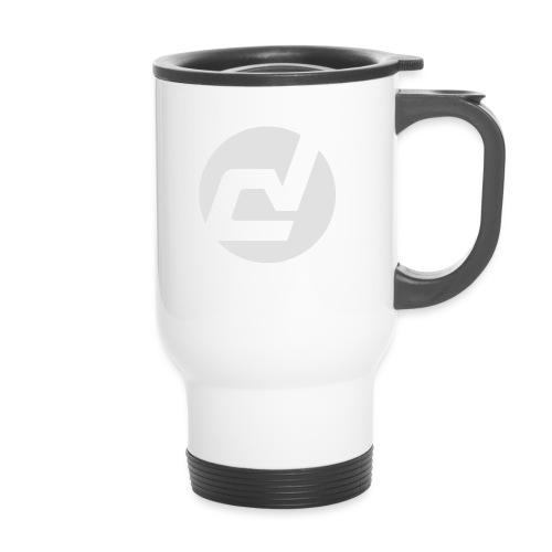 logo blanc - Tasse isotherme avec poignée