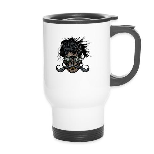 hipster skull tete de mort crane barbu moustache - Tasse isotherme avec poignée