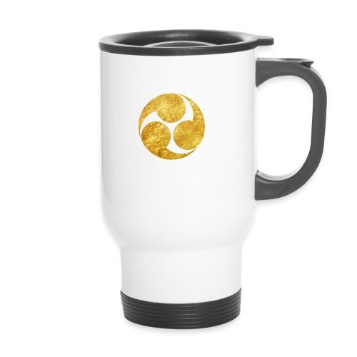 Kobayakawa Mon Japanese clan gold on black - Travel Mug