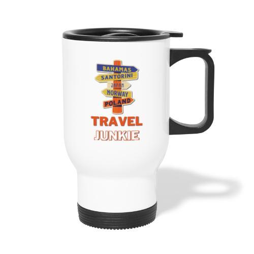 traveljunkie - i like to travel - Thermobecher mit Tragegriff