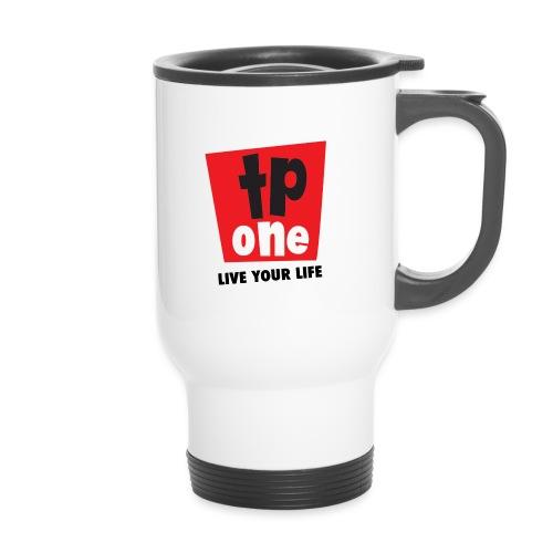 TP1 Logo Black Text - Thermal mug with handle