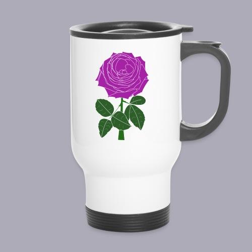 Landryn Design - Pink rose - Thermal mug with handle