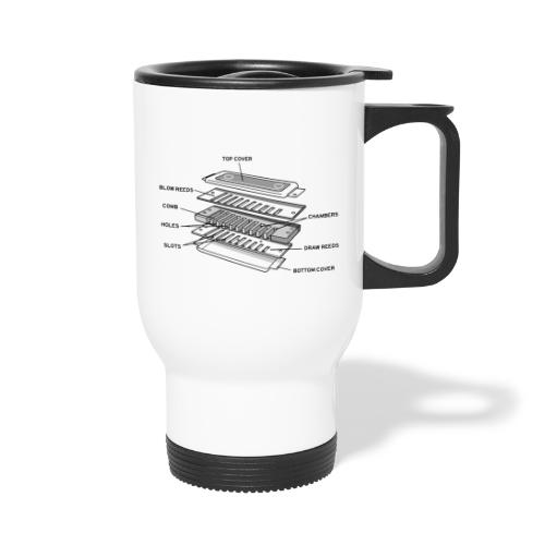 Exploded harmonica - black text - Thermal mug with handle