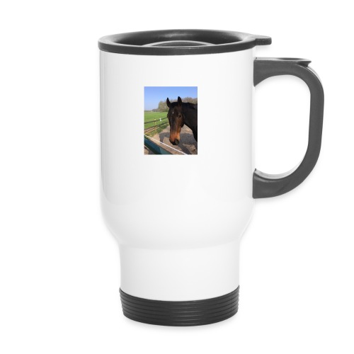Met bruin paard bedrukt - Thermosmok met draagring