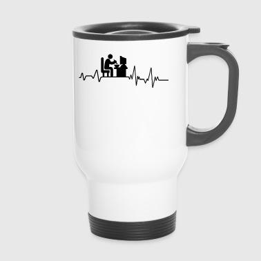 Heartbeat am PC essen T-Shirt Geschenk Gamer Spiel - Thermobecher