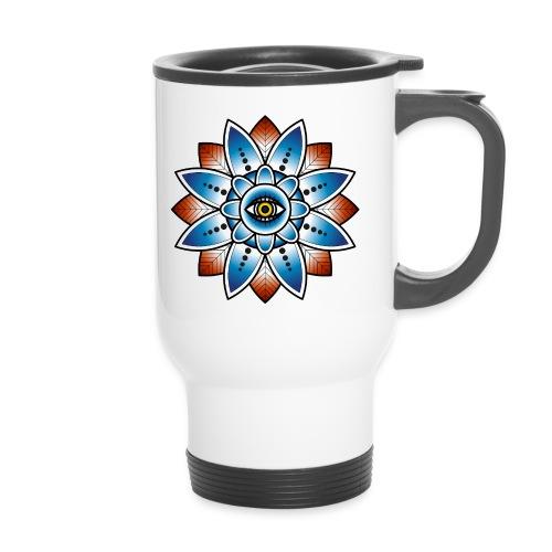 Psychedelisches Mandala mit Auge - Thermobecher