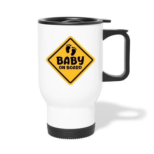 Slogan baby on board - baby aan boord Zwanger zijn - Thermosmok met draagring
