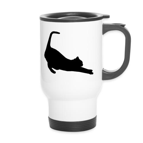 Schwarze Katze - Thermobecher mit Tragegriff
