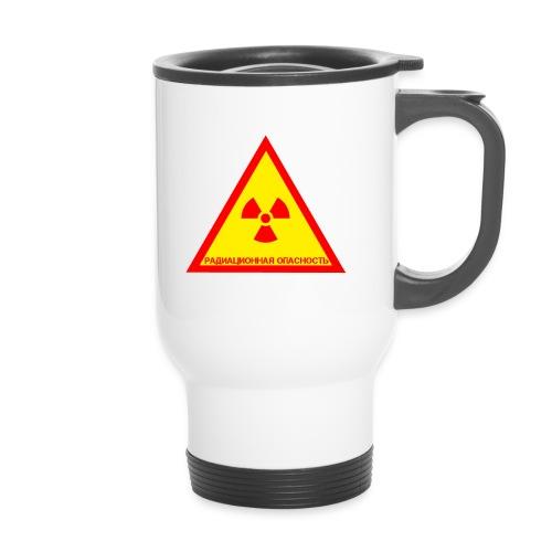 Achtung Radioaktiv Russisch - Thermobecher mit Tragegriff