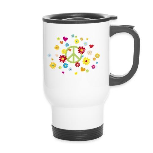 Peacezeichen Blumen Herz flower power Valentinstag - Travel Mug