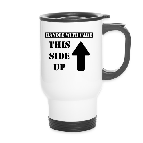Handle with care / This side up - PrintShirt.at - Thermobecher