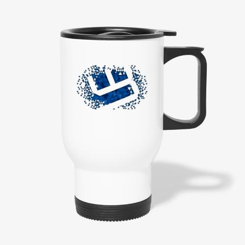w4sted v2 logo blue - Thermal mug with handle