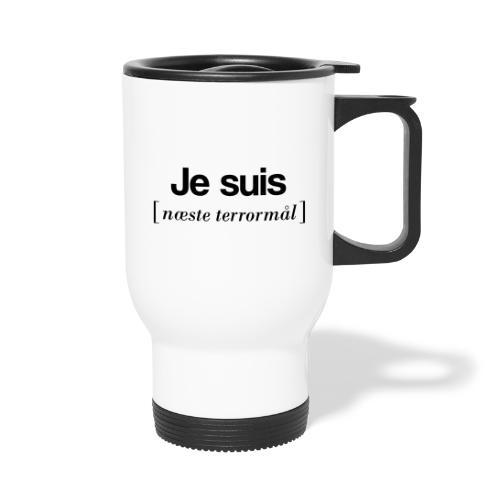 Je suis (sort skrift) - Termokrus med bærehåndtag