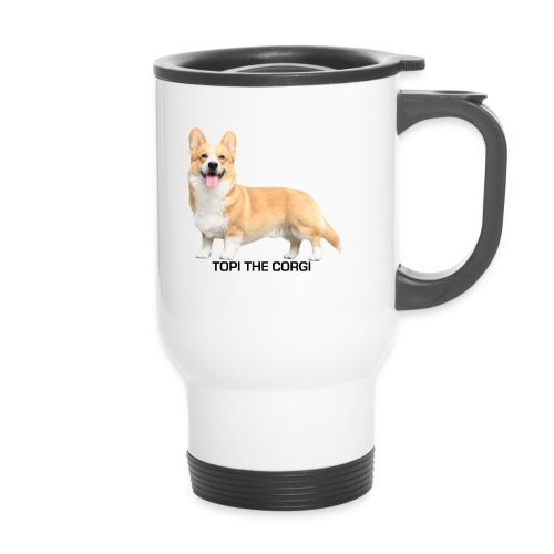 Topi the Corgi - Black text - Travel Mug