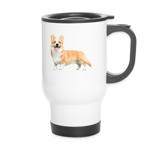 Topi the Corgi - White text - Travel Mug
