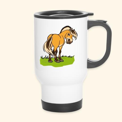 Freundliches Fjordpferd (Ohne Text) Weisse Umrisse - Mug thermos