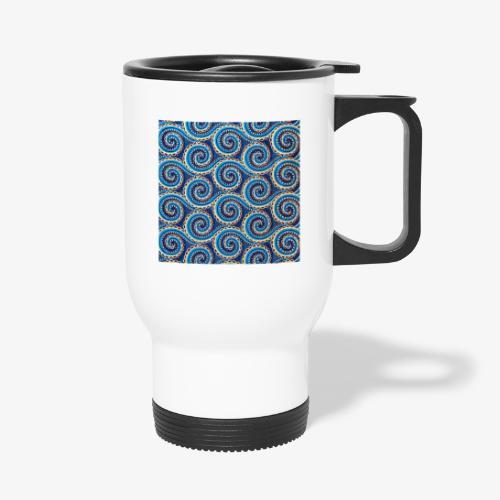 Spirales au motif bleu - Tasse isotherme avec poignée