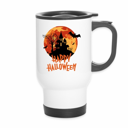 Bloodmoon Haunted House Halloween Design - Thermobecher