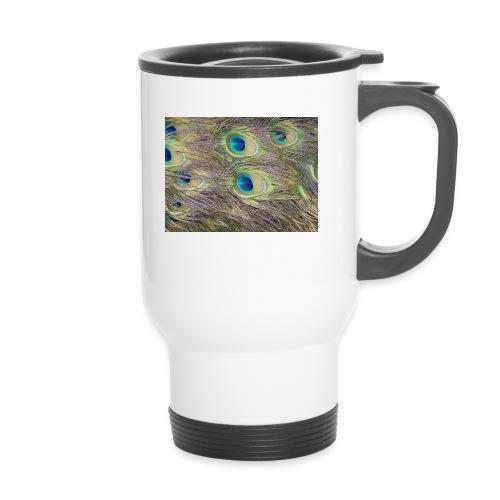 Peacock feathers - Kahvallinen termosmuki