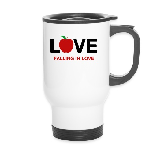 Falling in Love - Black - Thermal mug with handle