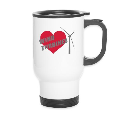 wind turbine grey - Thermal mug with handle