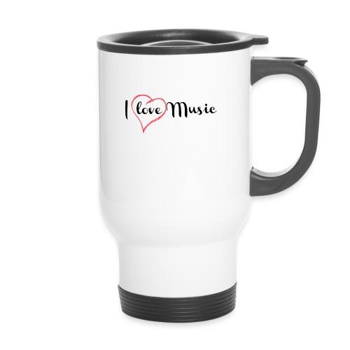 I Love Music - Tazza termica con manico per il trasporto