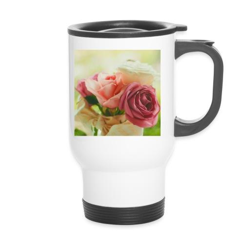 pink roses fl sq jpg - Travel Mug
