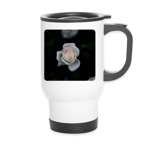 white roseflsq Curv 2 png - Travel Mug