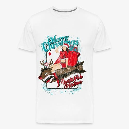 NORTH POLE AIRLINES - Weihnachten-Pin-Up-Sexbombe - Männer Premium T-Shirt
