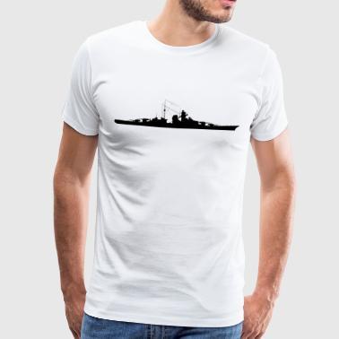 Battleship Bismarck Silhouette - Premium-T-shirt herr