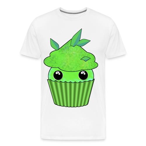 grön Kawaii Cupcake med mynta eller gröna te blad - Premium-T-shirt herr