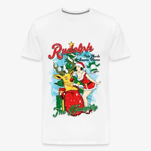 NAUGHTY RUDOLPH - Rentier Rudolph mit Pin-Up - Männer Premium T-Shirt