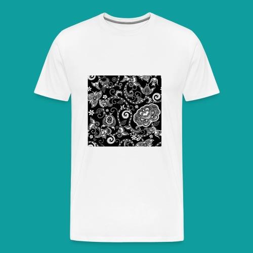 design floral vintage noir et blanc - T-shirt Premium Homme