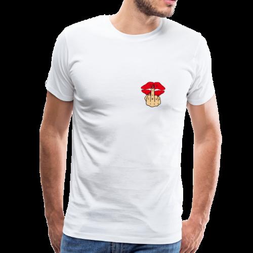 Kussmund Love Mittelfinger Tattoo - Männer Premium T-Shirt