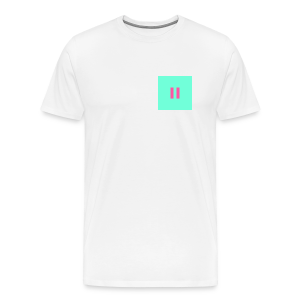 Mint Green Background Pink Pause - Men's Premium T-Shirt