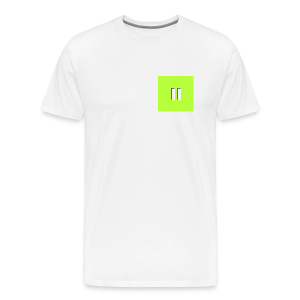 Lime Background White Pause W/Shadow - Men's Premium T-Shirt