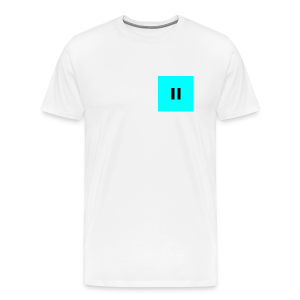 Pastel Blue Background Black Pause - Men's Premium T-Shirt