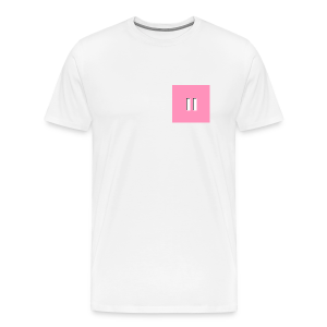 Pastel Pink Background White Pause W/Shadow - Men's Premium T-Shirt