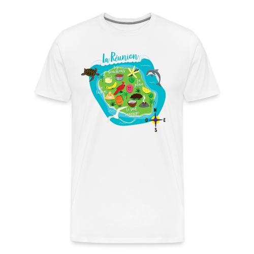Carte de l'Île de la Réunion - T-shirt Premium Homme