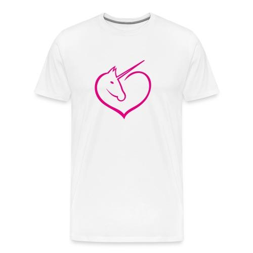 I love unicorns Pink Unicorn inside a heart - Camiseta premium hombre