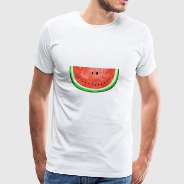 Smiley Wassermelone - Sommer - Früchte - Melone - Männer Premium T-Shirt