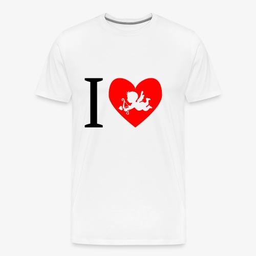 cupidon, rouge blanc noir, I love - T-shirt Premium Homme