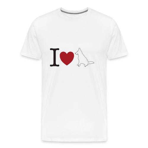 I LOVE White Dog - Koszulka męska Premium