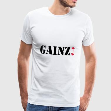 gainz dumbbell - Premium T-skjorte for menn